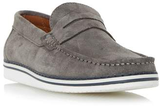 Dune Grey 'Brightling' Wedge Sole Suede Penny Loafer
