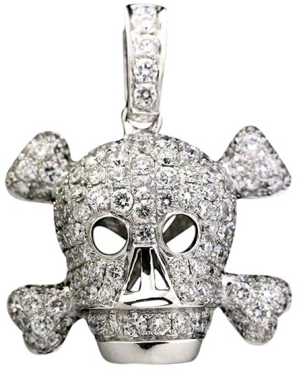 Christian Dior  Christian Dior 18K White Gold and Diamond Skull Motif Pendant