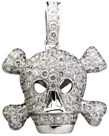 Christian Dior Christian Dior 18K White Gold and Diamond Skull Motif Pendant