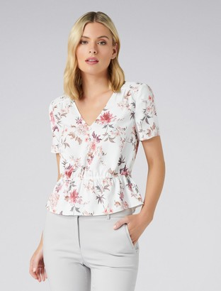 Forever New Shania Button Peplum Essential Top - Oriental Trailing Floral Print - 4