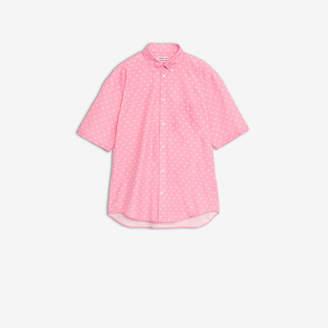 Balenciaga Logo Short Sleeve Shirt in pink and white mini BB printed cotton poplin