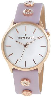 Mother of Pearl Thom Olson Gypset White And Rose Gold Dial Pink Leather Strap With And Rhinestone Charms Ladies Watch