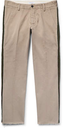 President's Cropped Stripe-Trimmed Cotton-Twill Chinos