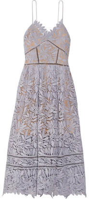 Self-Portrait - Laelia Guipure Lace Midi Dress - Lilac $500 thestylecure.com