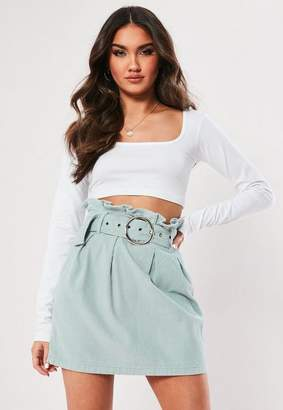 Missguided Green Paperbag Waist Belted Cord Skirt