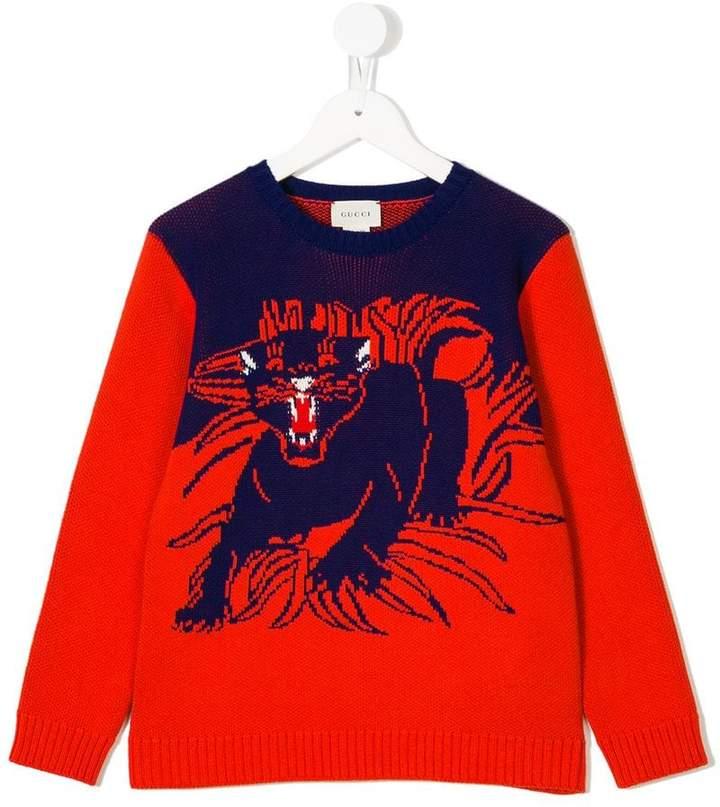 Gucci Kids tiger-intarsia sweater