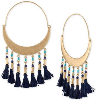 """Rachel Roy Gold-Tone Bead & Tassel 4"""" Hoop Earrings"""