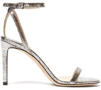 Jimmy Choo Minny 85 Metallic Leather Sandals - Womens - Silver