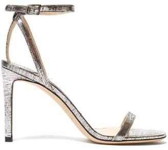 Jimmy Choo Minny 85 Metallic Leather Sandals - Womens - Silver