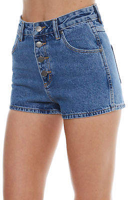 Wrangler New Women's Hi Ryder Womens Short Cotton Fitted Leather Blue 6