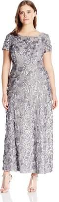 Alex Evenings Women's Plus-Size Long A-Line Rosette Dress with Short Sleeves