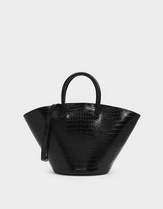 Charles & Keith Croc-Effect Large Trapeze Tote