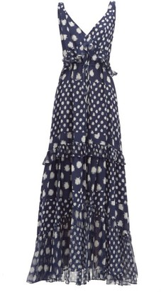 Diane von Furstenberg Misha Spot Print Tiered Silk Maxi Dress - Womens - Navy Multi