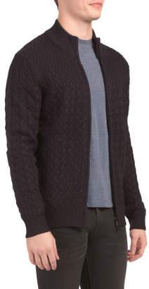 Merino Wool Cable Full Zip Mock Sweater