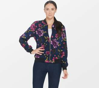Susan Graver Solid or Print Stretch Peachskin Bomber Jacket