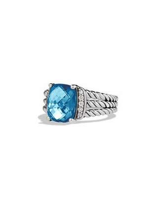 David Yurman Petite Wheaton Ring with Hampton Blue Topaz and Diamonds $495 thestylecure.com