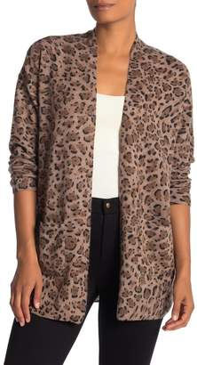 Magaschoni M BY Leopard Open Front Cashmere Cardigan