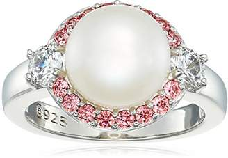 Swarovski Platinum Plated Sterling Silver Cubic Zirconia Freshwater Cultured Halo Pearl Ring