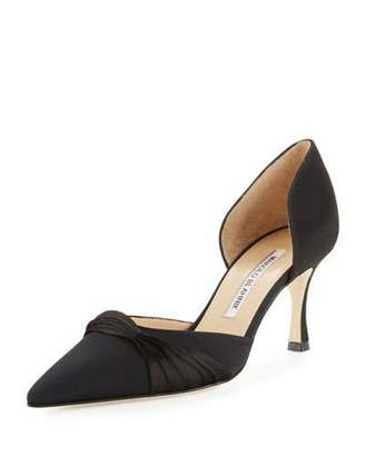 Manolo Blahnik Lisy Crepe d'Orsay 70mm Pumps, Black