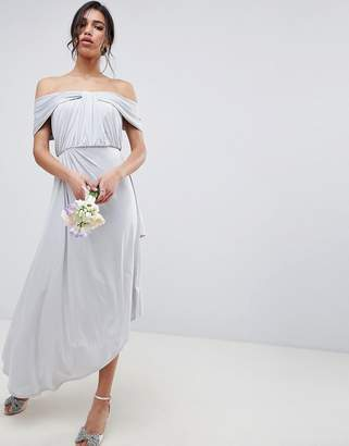 Asos Design DESIGN ruched knot front maxi dress