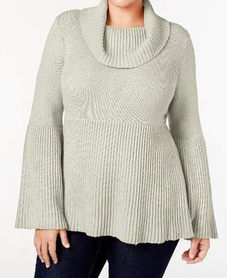 Style&Co. Style & Co. Womens Plus Cowl Neck Bell Sleeve Pullover Sweater Ivory