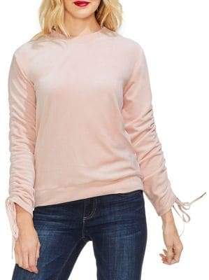 Vince Camuto Gilded Rose Self-Tie Velour Top