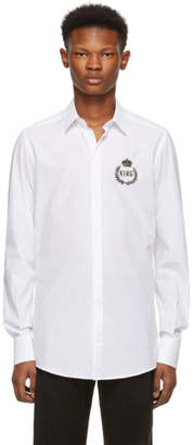 Dolce & Gabbana White King Embroidery Patch Shirt
