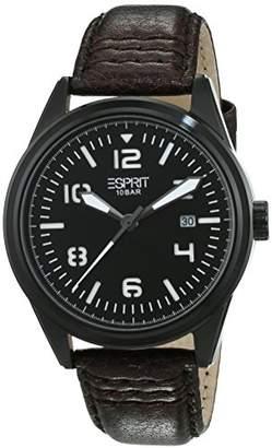 Esprit Men's Quartz Watch Chester with Black Dial and Brown Leather Strap ES106311003