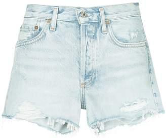 A Gold E Agolde Parker distressed denim shorts