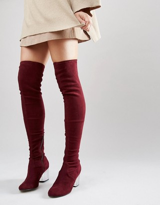 Asos Kentucky Clear Heel Over The Knee Sock Boots