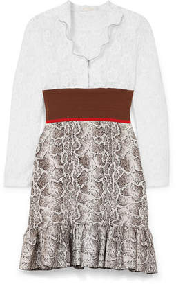 Chloé Paneled Lace, Stretch And Jacquard-knit Mini Dress - Brown