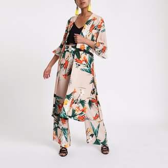River Island Womens Light Pink tropical print duster coat