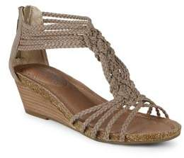 Me Too Trista Braided Nubuck Leather Wedge Sandals