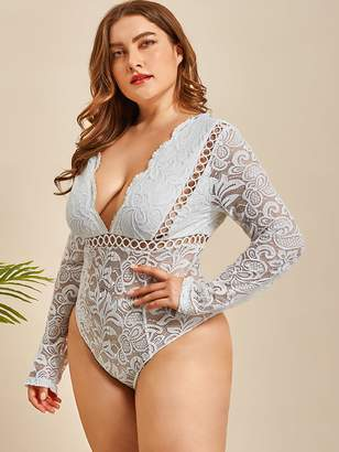 Shein Plus Floral Lace Long Sleeve Teddy Bodysuit