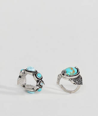 Asos Pack of 2 Faux Turquoise Stone Rings