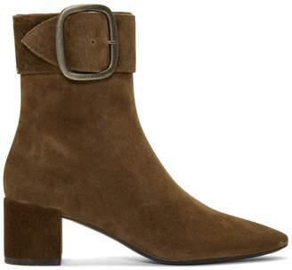 Saint Laurent Brown Suede Joplin Boots