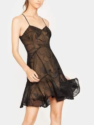 Halston Embroidered Soutache Flounce Dress