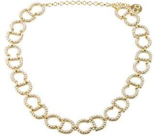 Christian Dior Faux Pearl Logo Choker Necklace