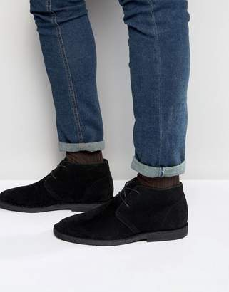 Asos Design Desert Boots in Black Faux Suede