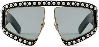 Gucci Rectangular-frame acetate sunglasses with pearls