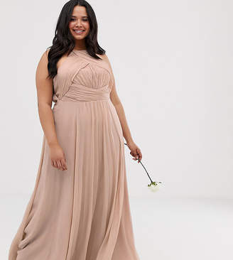 Asos DESIGN Curve Bridesmaid pinny maxi dress with ruched bodice