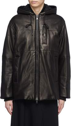 Vince Hooded panelled leather puffer jacket