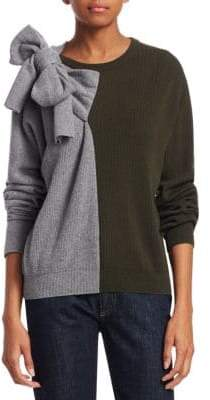 Carven Wool-Blend Color Block Bow Sweater