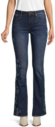 Driftwood Floral Embroidery Bootcut Jeans