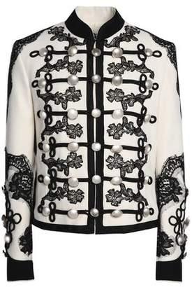 Dolce & Gabbana Button-Embellished Lace-Trimmed Wool-Blend Jacket