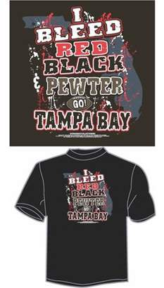 """Encore Select, Inc. Tampa Bay Football """"I Bleed Red, Black and Pewter, Go Tampa Bay"""" T-Shirt, Black"""
