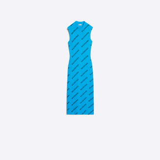 Balenciaga Ribbed knit sleeveless logo dress