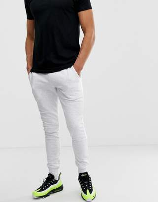 Asos Design DESIGN super skinny joggers in white marl