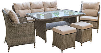 LG Electronics Outdoor Marseille 7 Seater Garden Dining Table and Chairs Lounging Set, Natural
