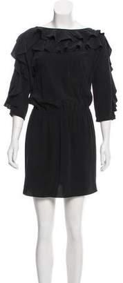 Tibi Silk Ruffle-Trimmed Mini Dress w/ Tags
